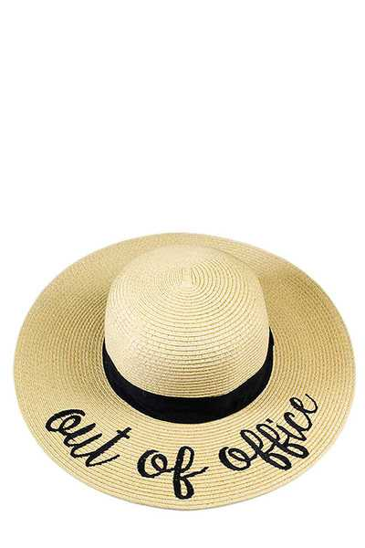 OUT OF OFFICE EMBROIDERED FLOPPY SUN HAT