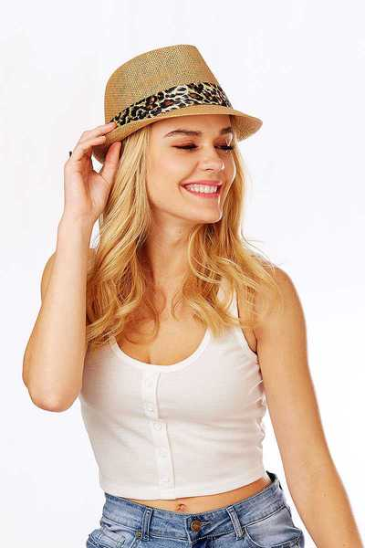 CHIC STYLISH SUMMER STRAW ANIMAL PRINT BAND FEDORA HAT
