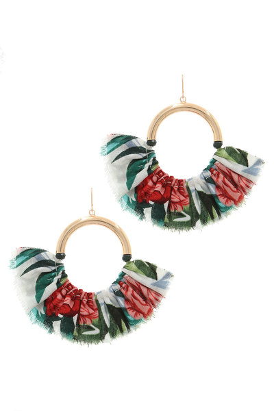 FLORAL PATTERN FAN DROP EARRING