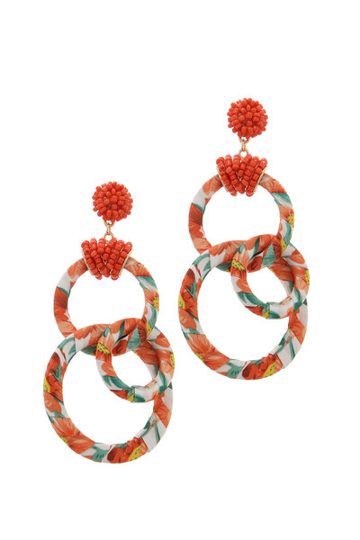 FLORAL PATTERN WRAPPED RING POST DROP EARRING