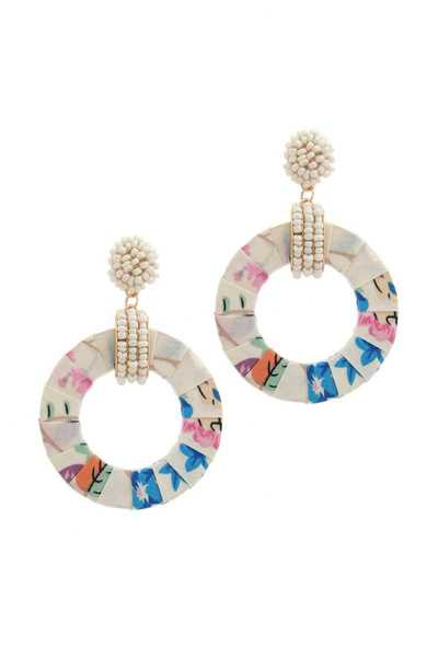 FABRIC WRAPPED CIRCLE BEADED POST DROP EARRING