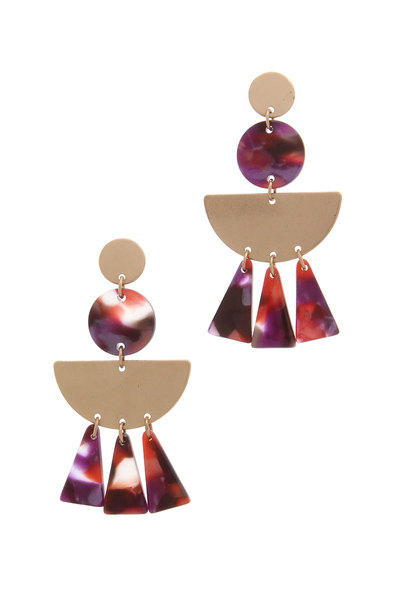 ACETATE METAL HALF CIRCLE POST DROP EARRING
