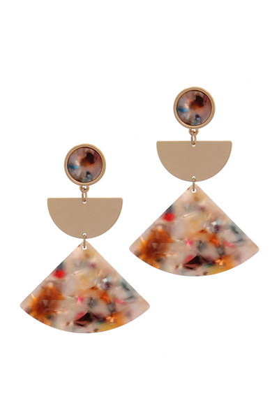 ACETATE TRIANGULAR SHAPE METAL HALF CIRCLE POST DROP EARRING