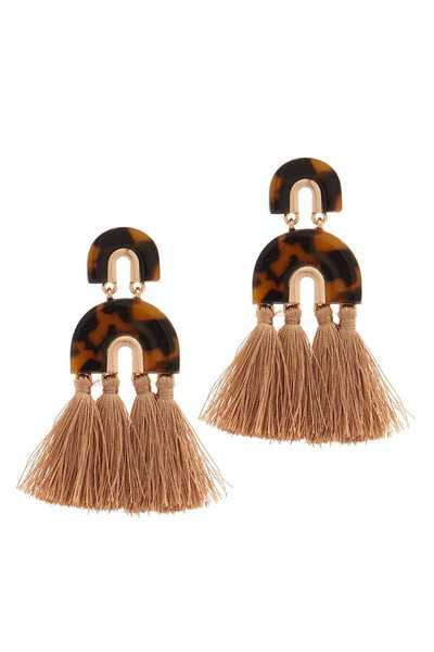 ACETATE HALF CIRCLE TASSEL DROP EARRING