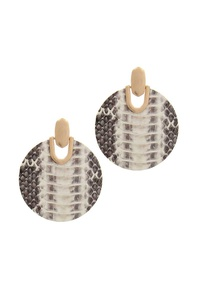 PATTERN GENUINE LEATHER POST EARRING