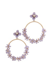 FLORAL HOOP POST DROP EARRING