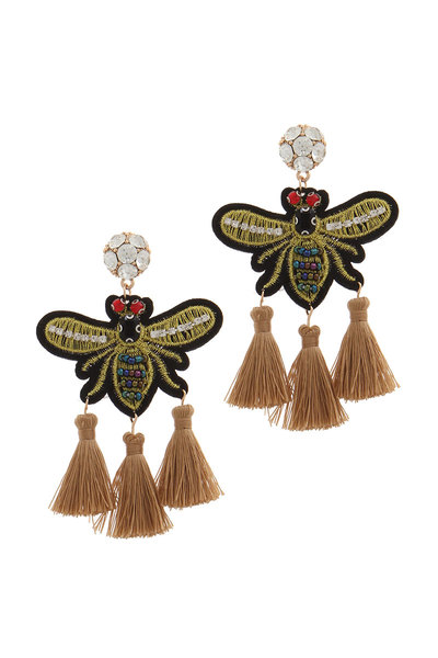 RHINESTONE EMBROIDERED INSECT TASSEL POST DROP EARRING