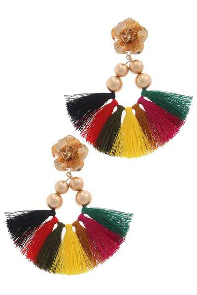 METAL FLOWER BEAD FAN TASSEL DROP EARRING