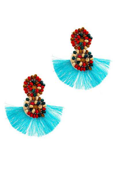 FASHION BEADED FAN TASSEL EARRING