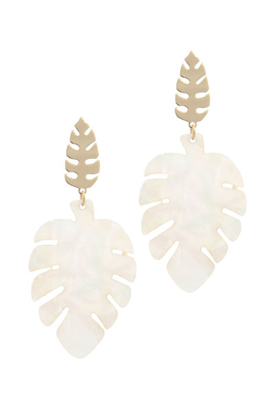 DOUBLE TROPICAL LEAF POST DROP EARRING