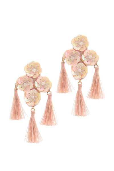 FLORAL TASSEL POST DROP EARRING