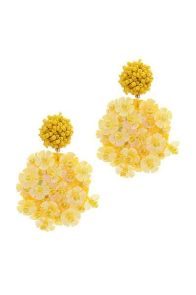 FLORAL BEADED POST DROP EARRING