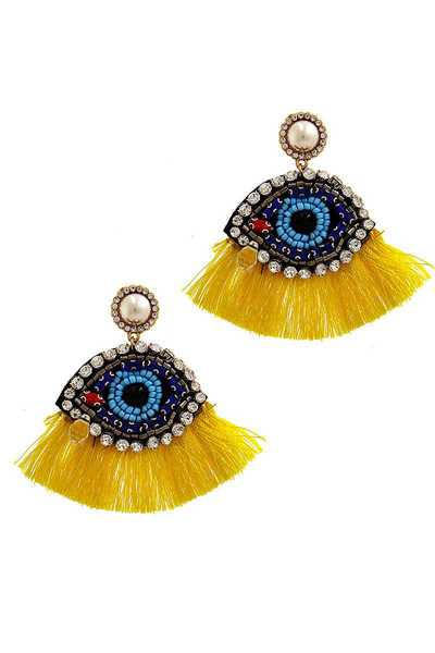 DESIGNER TRENDY EYE TEAR DROP TASSEL EARRING