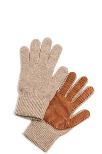 Half Leather Knit Gloves