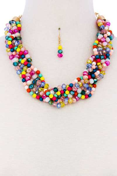 CHUNKY TWISTED BEADED NECKLACE