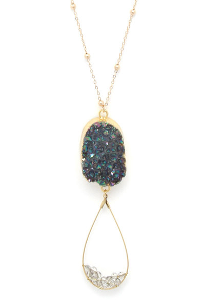 DRUZY STONE TEARDROP PENDANT NECKLACE