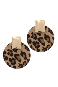 ROUND ANIMAL PRINT METAL SQUARE POST EARRING