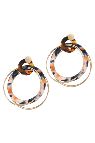 ACETATE METAL RING POST DROP EARRING