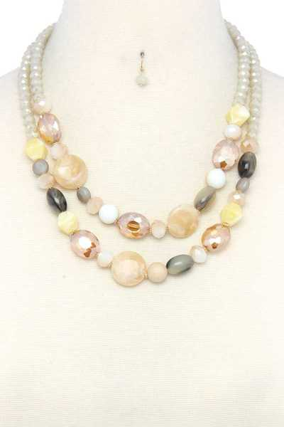 STONE BEADED LAYERED NECKLACE