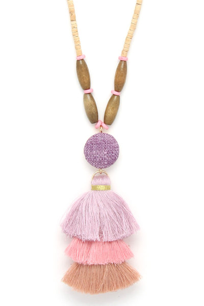 WOODEN BEAD LAYERED TASSEL PENDANT NECKLACE