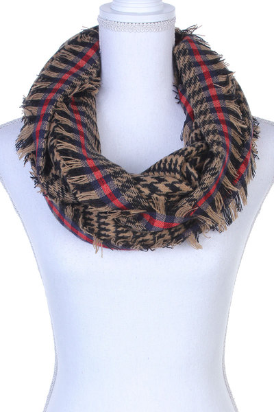 HOUNDSTOOTH PATTERN FRAY TRIM INFINTY SCARF
