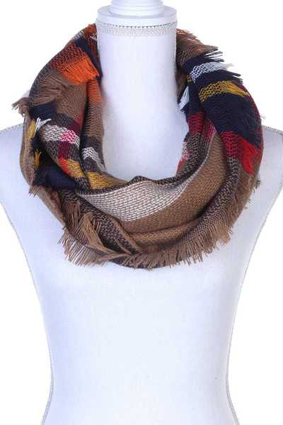 PLAID PATTERN FRAY TRIM INFINITY SCARF
