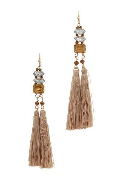 SQUARE BEAD TASSEL DROP EARRING