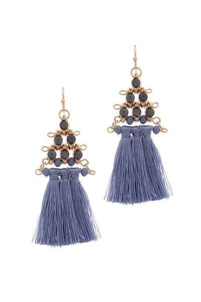 TASSEL BEADED DROP EARRING