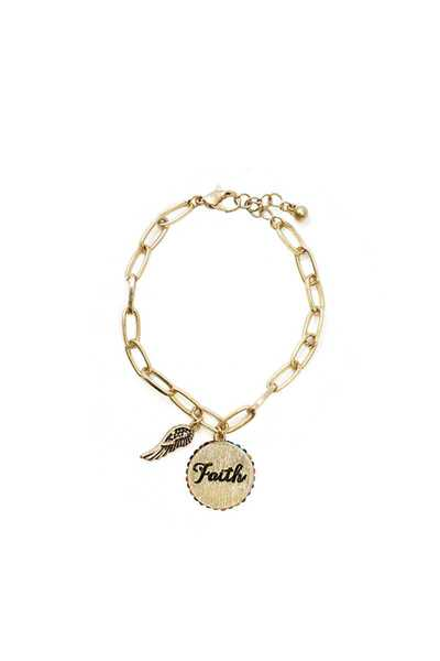 WING AND FAITH CHARM DANGLE BRACELET