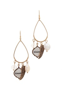 BLESSED ANGEL WING CHARM DROP EARRING