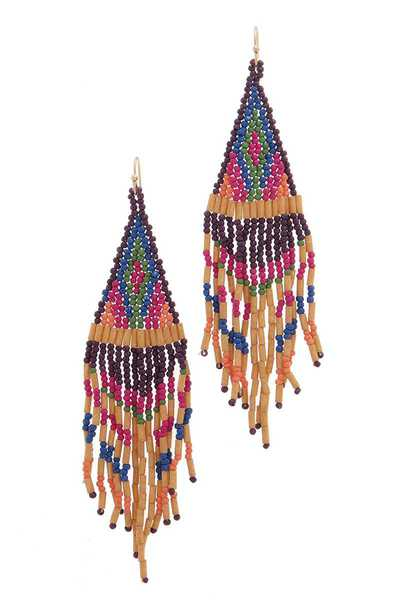 SEED BEAD DANGLE DROP EARRING