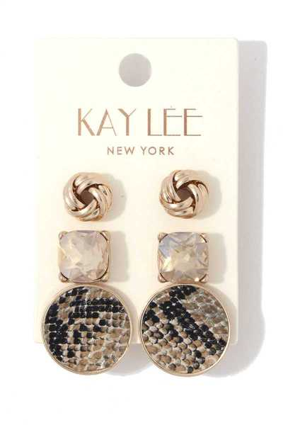 ROUND ANIMAL PATTERN STUD EARRING SET