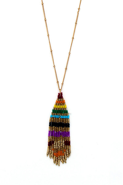 MODERN FASHION BEADED PENDANT NECKLACE