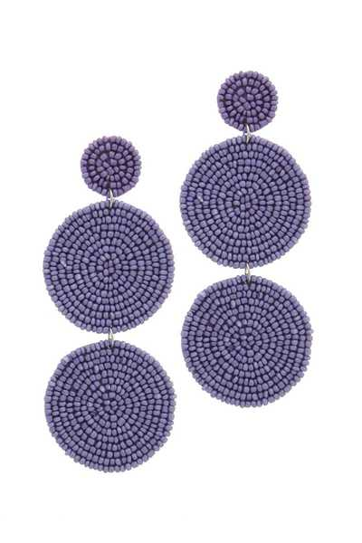 BEADED CIRCLE POST DROP EARRING