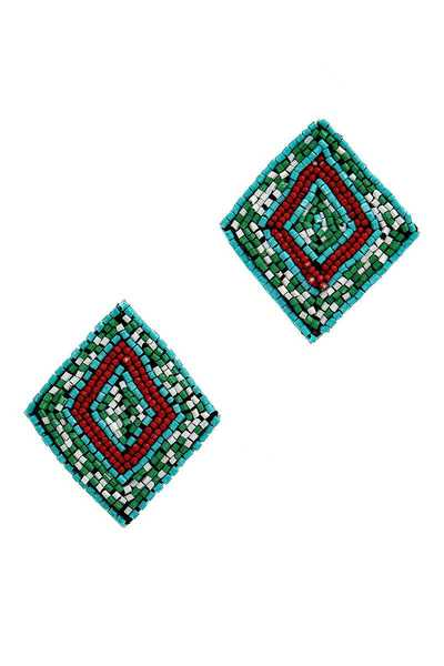 CHIC FASHION BEADED SQUARE EARRING
