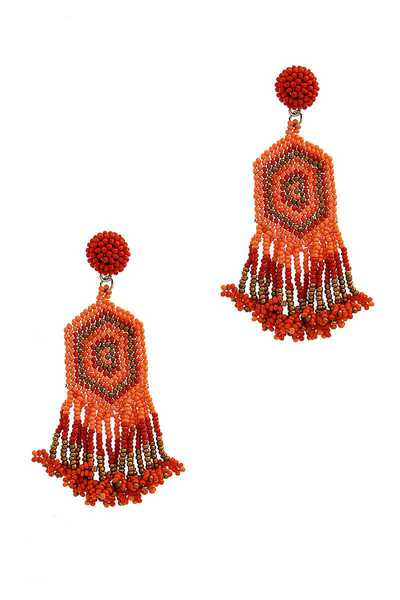 CHIC DESIGNER BEADED TASSEL DROP EARRING
