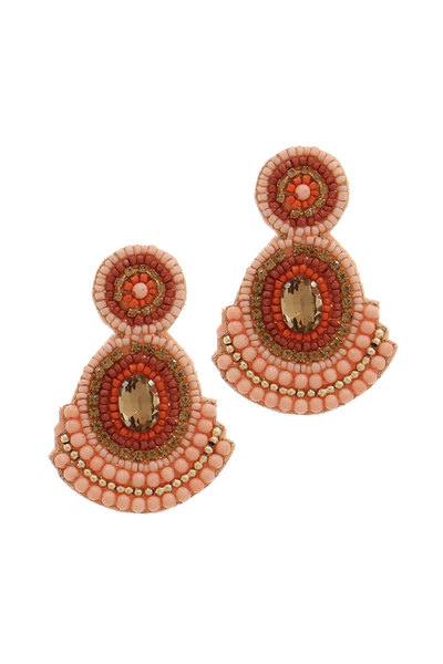 DOUBLE CIRCLE BEADED POST DROP EARRING