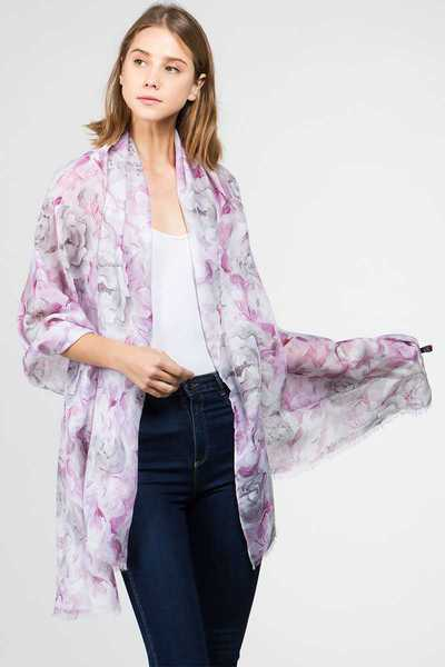 MODERN WATER COLORED FLOWER OBLONG SCARF