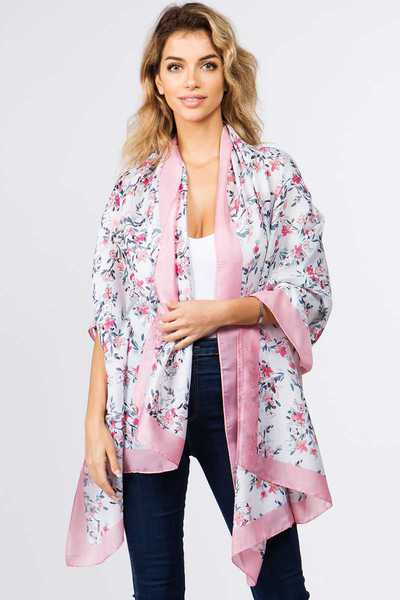 MODERN STYLISH FLOWER TWO TONE OBLONG SCARF