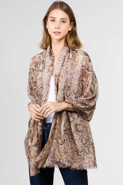 FASHION ANIMAL PRINT HINT OF METALLIC OBLONG SCARF