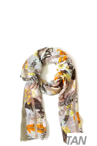 STYLISH MULTI COLORED FLOWER OBLONG SCARF