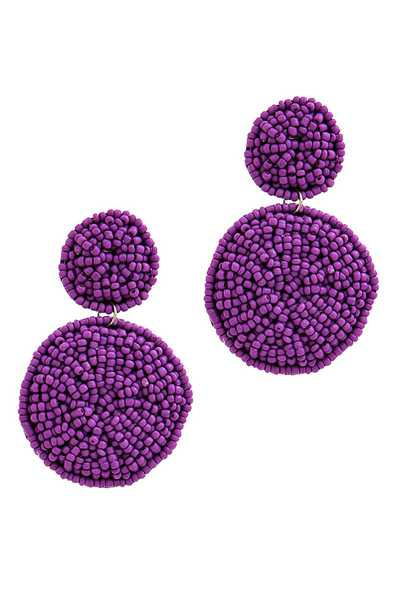 SEED BEAD DOUBLE CIRCLE POST DROP EARRING