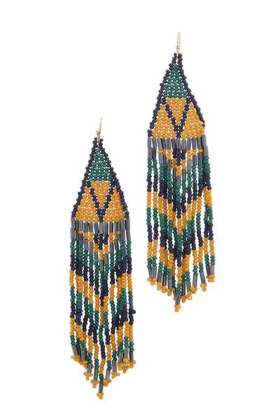 SEED BEAD MULTI STRAND DANGLE DROP EARRING