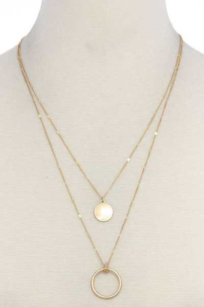 CUT OUT CIRCLE COIN LAYERED NECKLACE