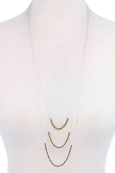 TRENDY STYLISH TRIPLE CHAIN NECKLACE