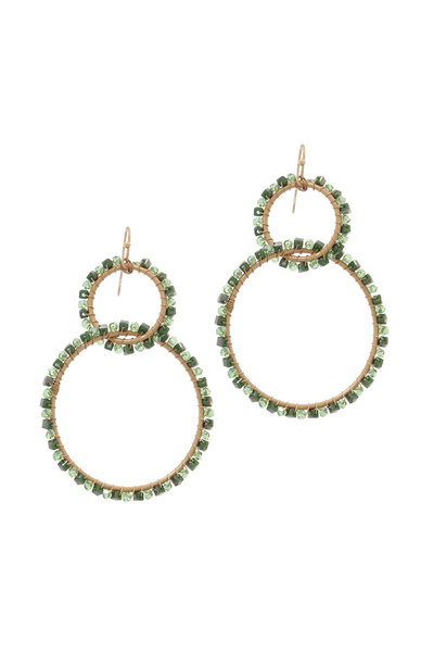BEADED DOUBLE RING DROP EARRING