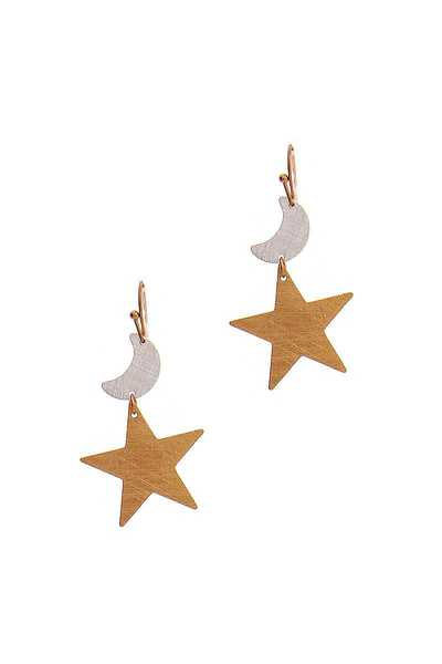 FASHION CUTE HAMMERED STAR AND MOON DROP EARRING
