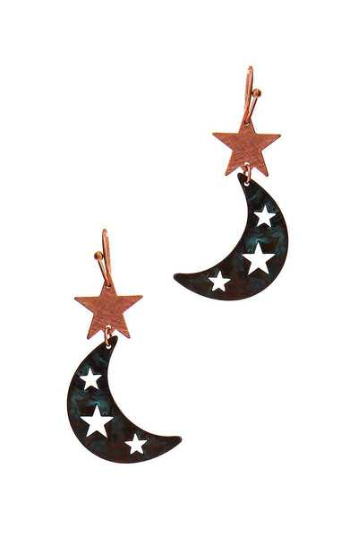 CUTE STAR AND CRESCENT MOON DROP EARRING