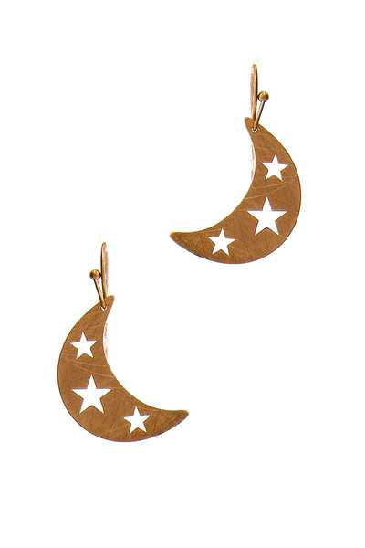 FASHION CRESCENT MOON AND STAR DROP EARRING
