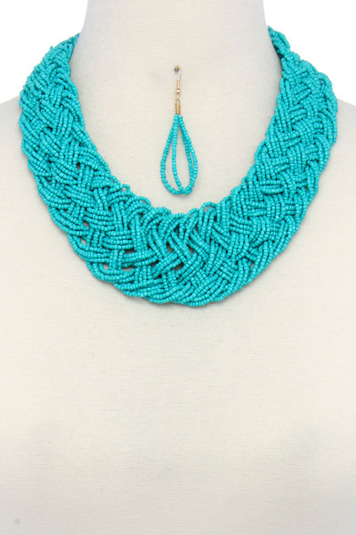 SEED BEAD BRAIDED NECKLACE